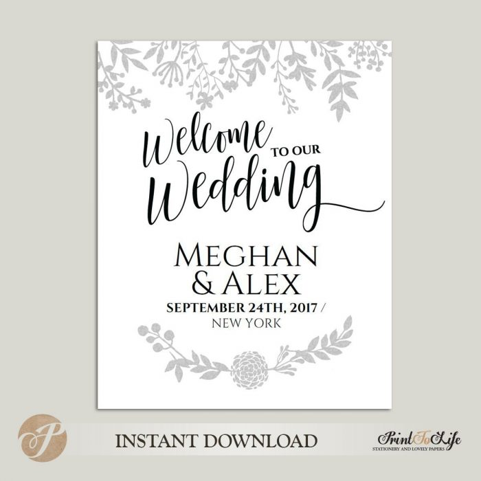 Welcome Wedding Sign, Printable Welcome Sign, Editable PDF Template, 3 sizes. 1