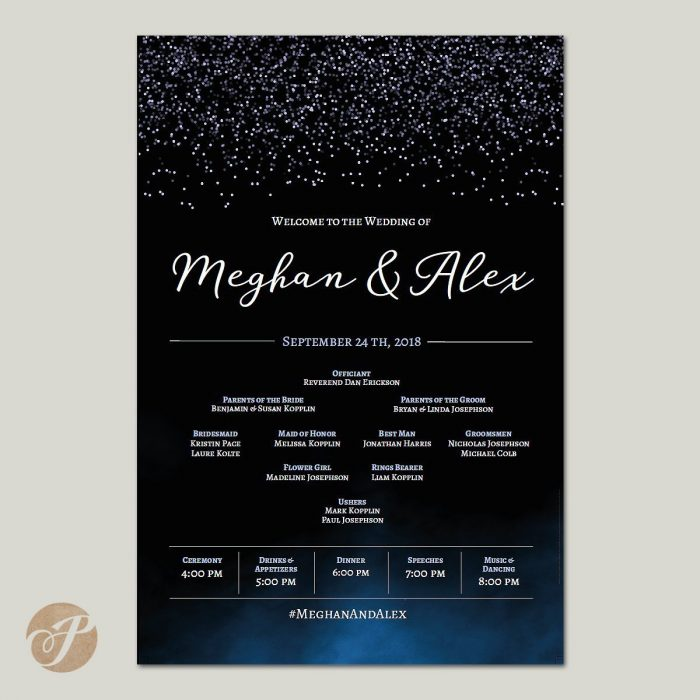 Wedding Program Sign Modern, Dark Blue Watercolor and Glitter effect, Made to order. 2
