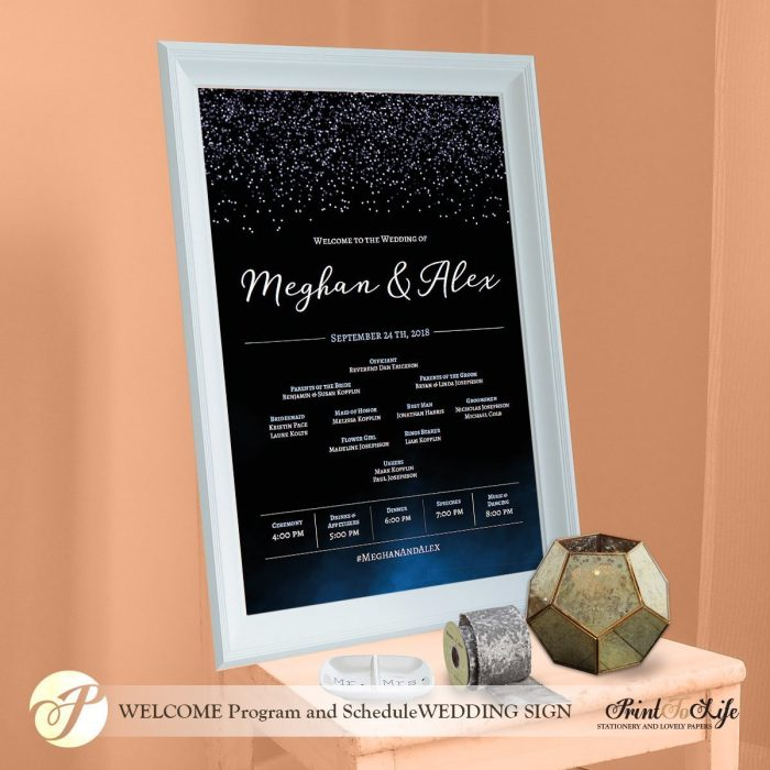 Wedding Program Sign Modern, Dark Blue Watercolor and Glitter effect, Made to order. 1