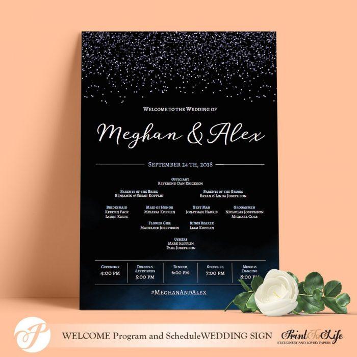 Wedding Program Sign Modern
