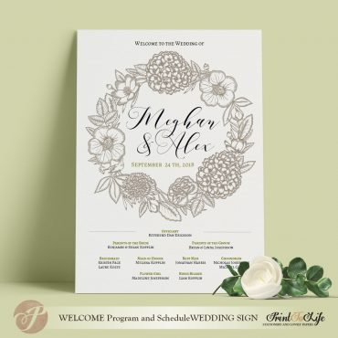 wedding program sign diy