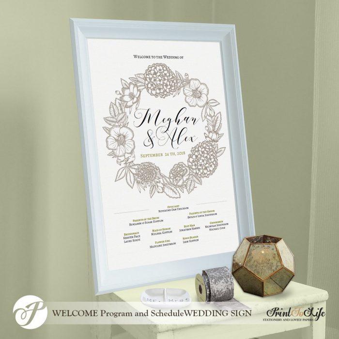 Wedding Program Sign DIY, Engraved Wreath, Made to order 1