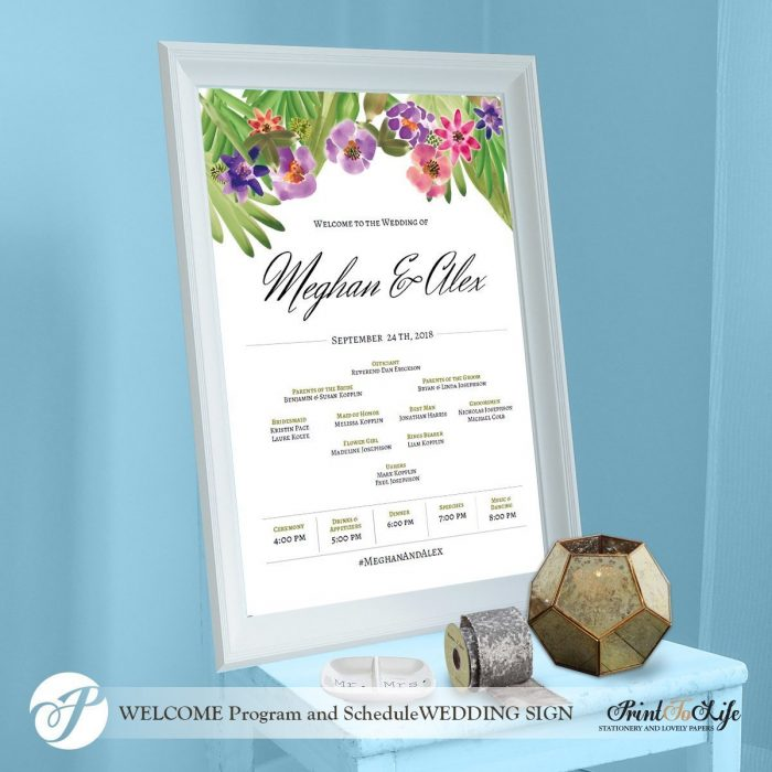 Wedding Program Sign, Welcome Wedding Sign, Floral Watercolor, Made to order. 1