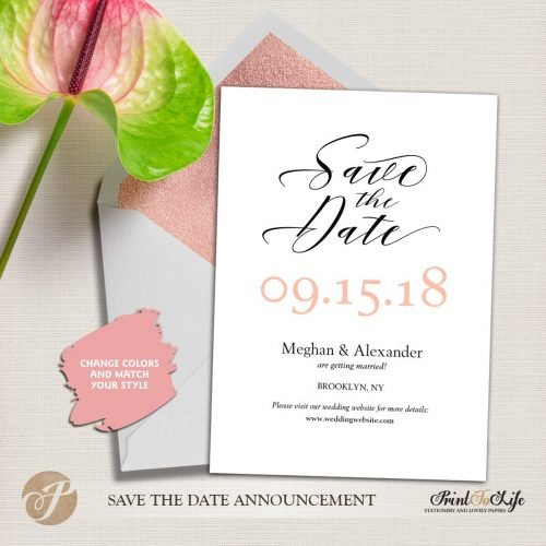 Save the Date Card, Wedding Card Template, Modern calligraphy #MrAndMrs 1