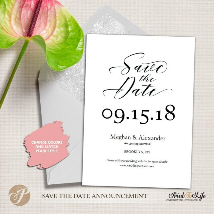 Save the Date Card, Wedding Card Template, Modern calligraphy #MrAndMrs 3