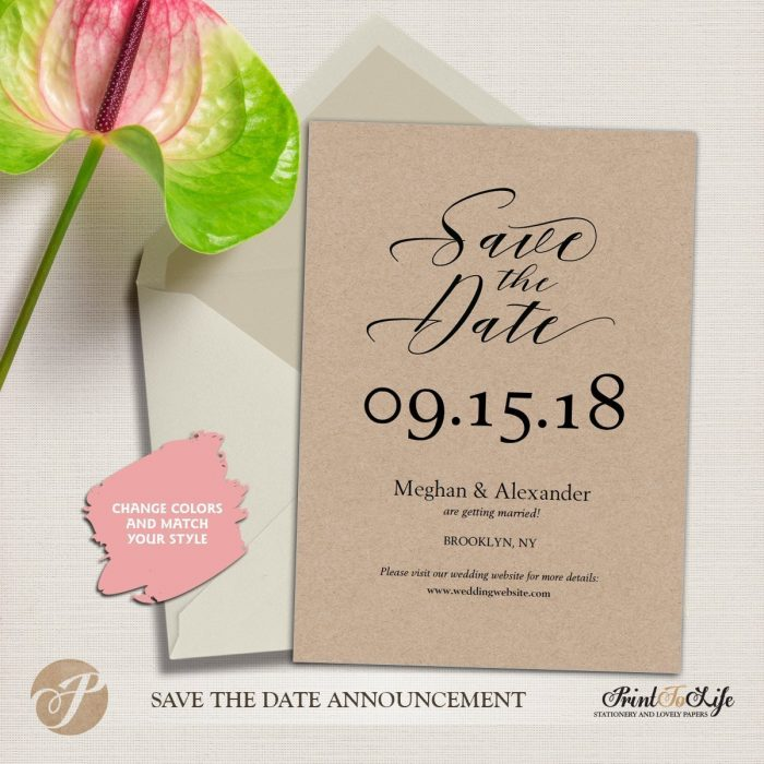 Save the Date Card, Wedding Card Template, Modern calligraphy #MrAndMrs 2