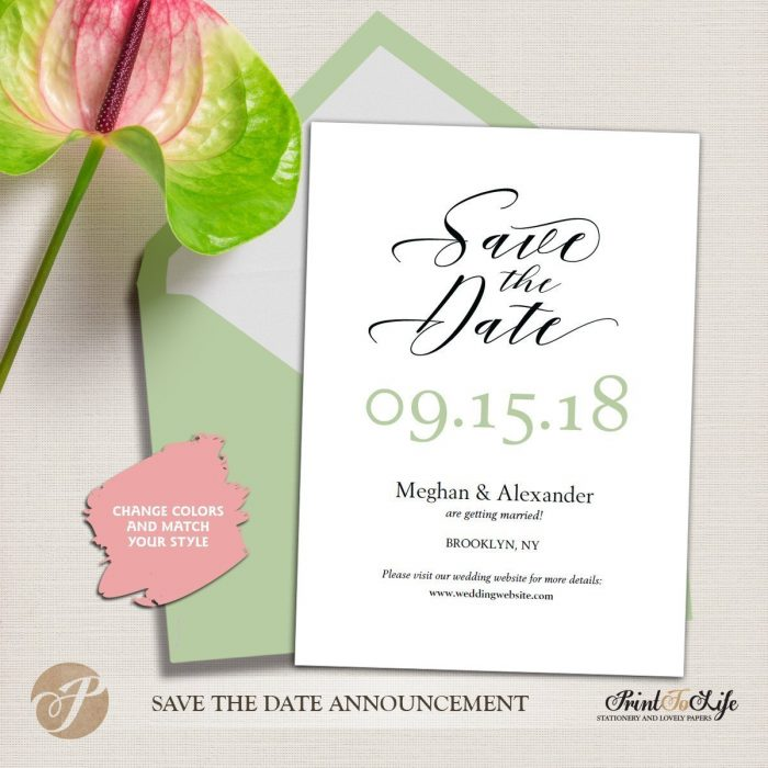 Save the Date Card, Wedding Card Template, Modern calligraphy #MrAndMrs 4