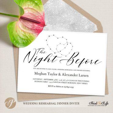 Wedding Rehearsal Dinner Invitation, The Night Before #MrAndMrs 1