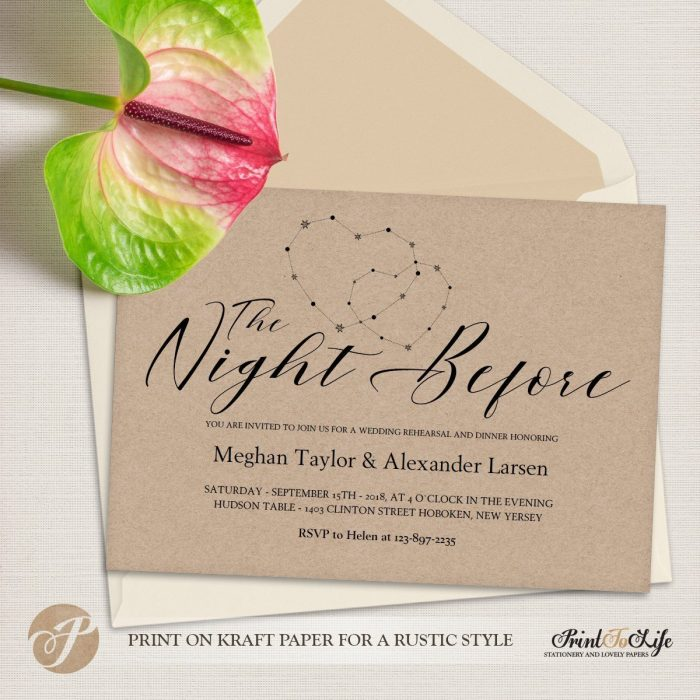 Wedding Rehearsal Dinner Invitation, The Night Before #MrAndMrs 3