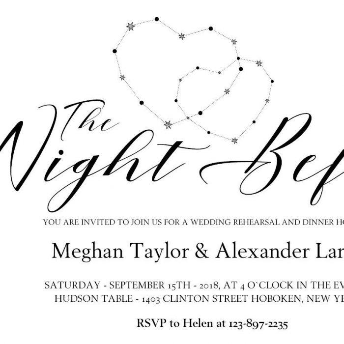 Wedding Rehearsal Dinner Invitation, The Night Before #MrAndMrs 2