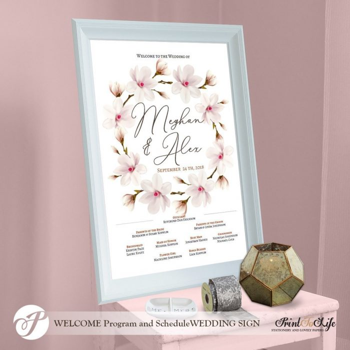 Welcome Order of Events wedding sign, Made to order. 1