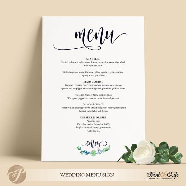 Wedding Menu Sign, Wedding Menu Board, #Greenery Collection in 3 sizes 1