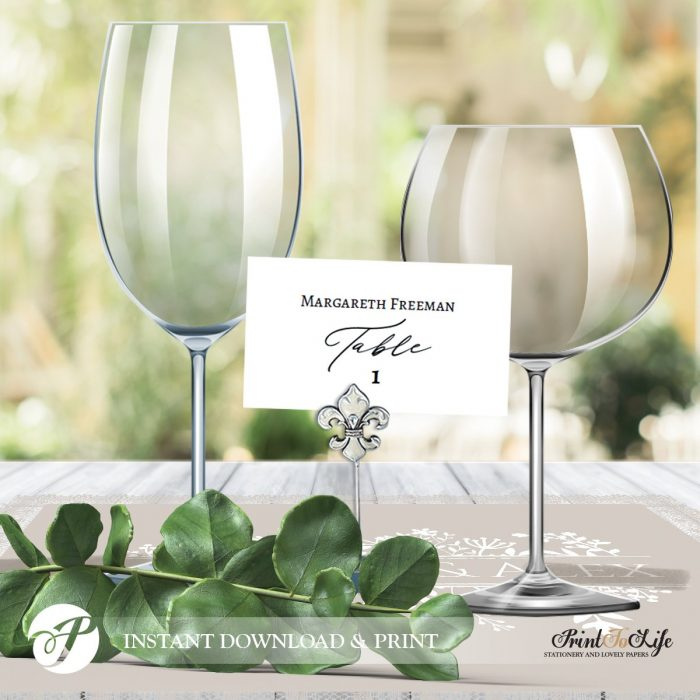 Place Card Template, Escort Cards, Printable Seating Place Cards, Calligraphic Style 1