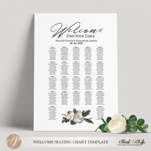 Printable Wedding Seating Chart
