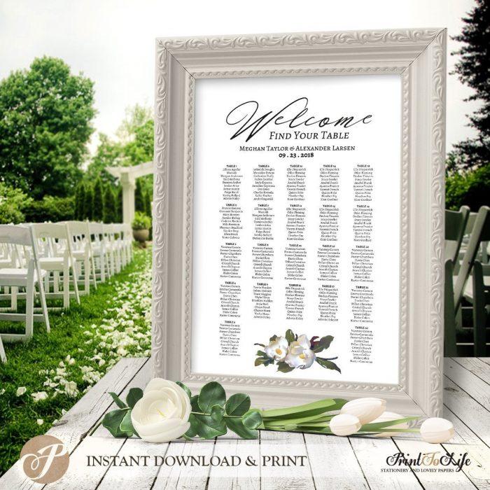 Printable Wedding Seating Chart, Magnolia Seating Chart Template #Magnolia Collection 1