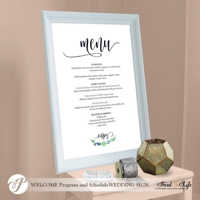 Wedding Menu Sign, Wedding Menu Board, #Greenery Collection in 3 sizes 3
