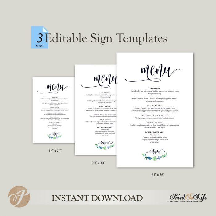 Wedding Menu Sign, Wedding Menu Board, #Greenery Collection in 3 sizes 2