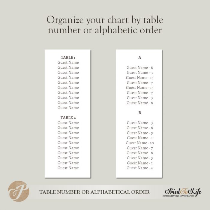 Printable Wedding Seating Chart, Magnolia Seating Chart Template #Magnolia Collection 3