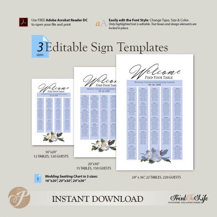Printable Wedding Seating Chart, Magnolia Seating Chart Template #Magnolia Collection 2