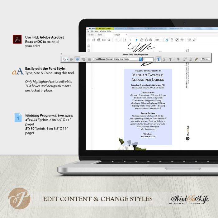Wedding Program Template, Wedding Printable Program, #Magnolia Collection 2