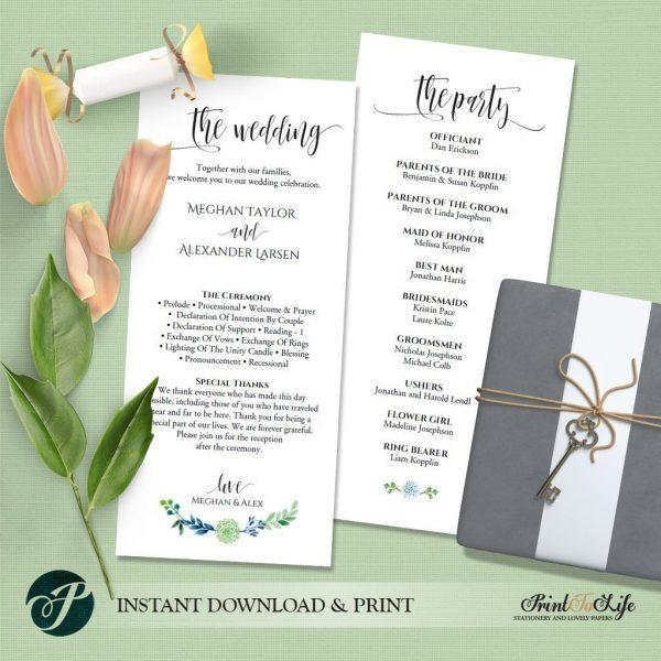 Greenery Wedding Program by Printolife