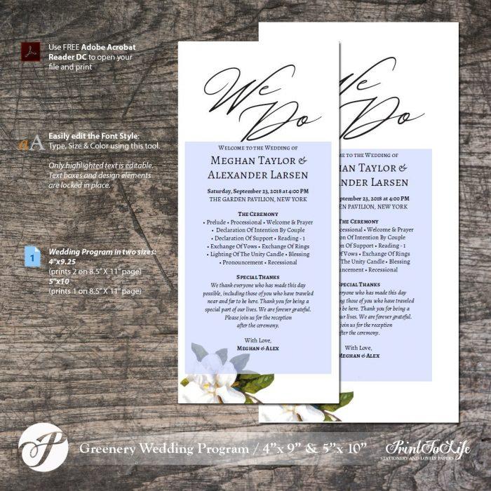 Wedding Program Template, Wedding Printable Program, #Magnolia Collection 1