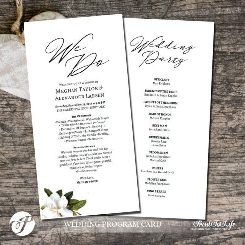 wedding program template
