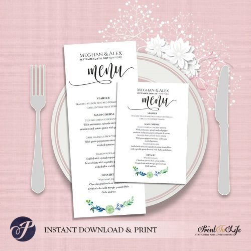 Greenery Menu Cards by Printolife