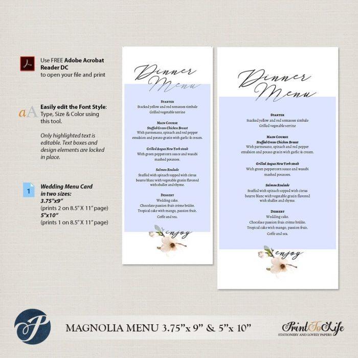 Wedding Menu Cards, Dinner Menu, Printable Wedding Menu Cards, #Magnolia Collection 2