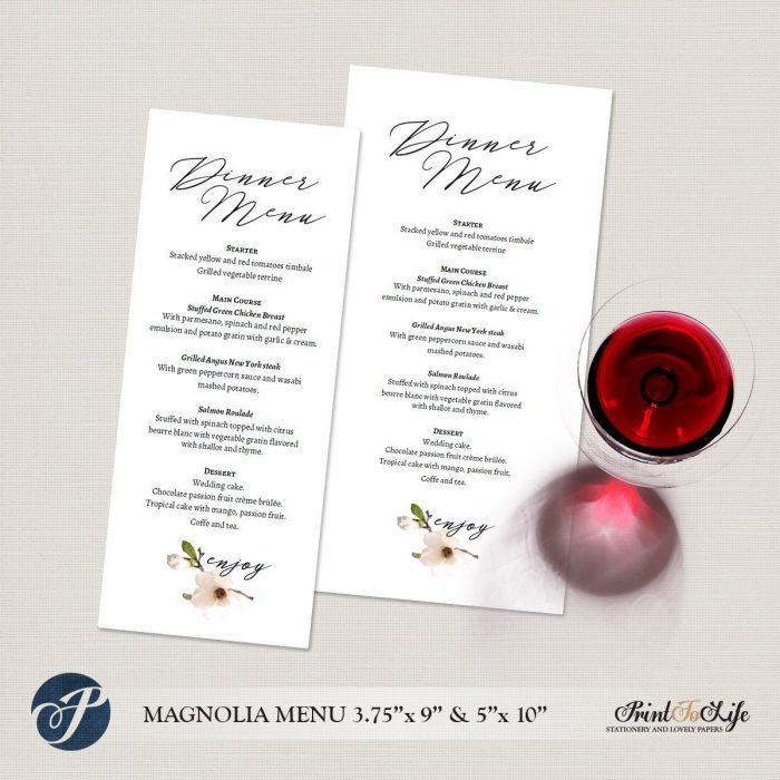 Wedding Menu Cards, Dinner Menu, Printable Wedding Menu Cards, #Magnolia Collection 1