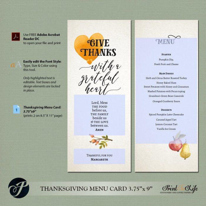 Thanksgiving Menu Template
