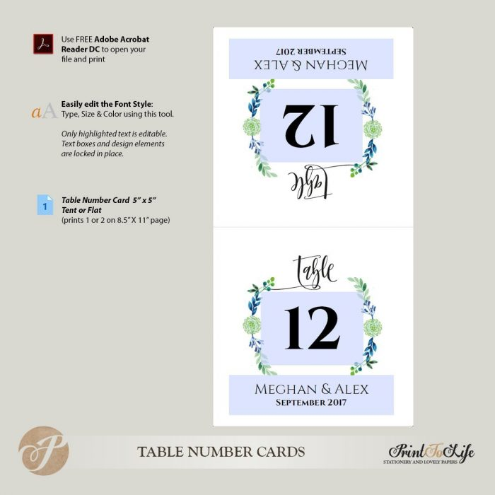 Greenery Table Numbers by Printolife