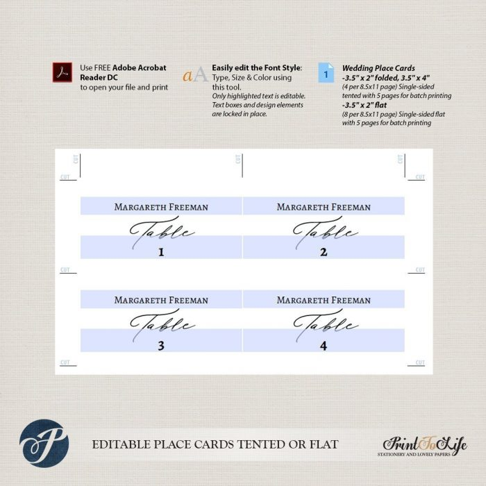 Place Card Template, Escort Cards, Printable Seating Place Cards, Calligraphic Style 2