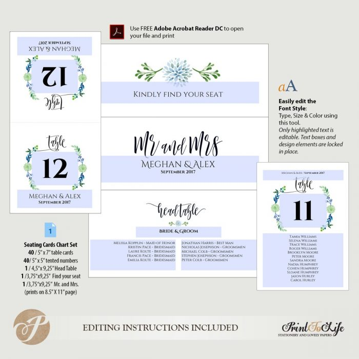 Seating cards chart, wedding seating plan and table numbers, #Greenery Collection 4