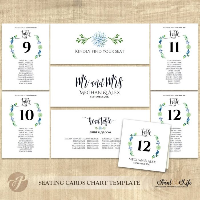 Seating cards chart, wedding seating plan and table numbers, #Greenery Collection 2