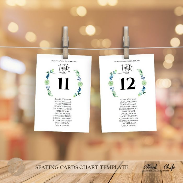 Seating cards chart, wedding seating plan and table numbers, #Greenery Collection 3