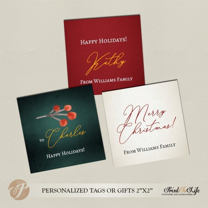 Holiday Gift Tags or Stickers, Personalized Christmas Tags, Editable Template. 2