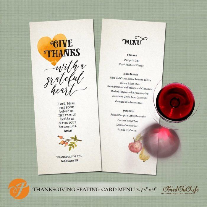 Thanksgiving Menu Template, Printable Menu, Thanksgiving Seating Menu Card. 1