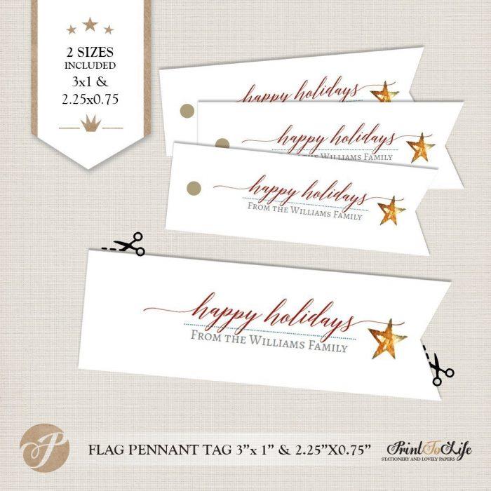 Editable Christmas Gift Tags, Holiday Gift Tags, Happy Holidays Hang Tags. 1