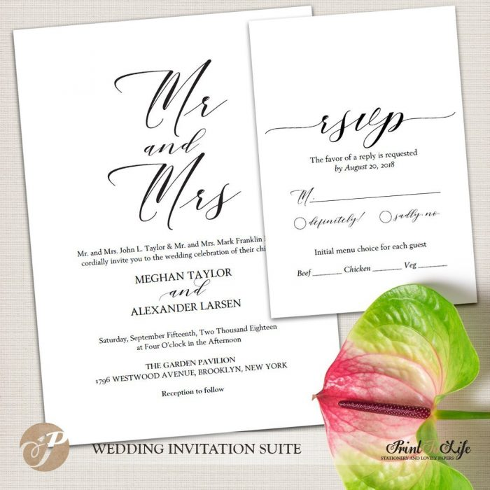 Wedding Invitation Set, Printable Wedding Suite #MrAndMrs Collection 2
