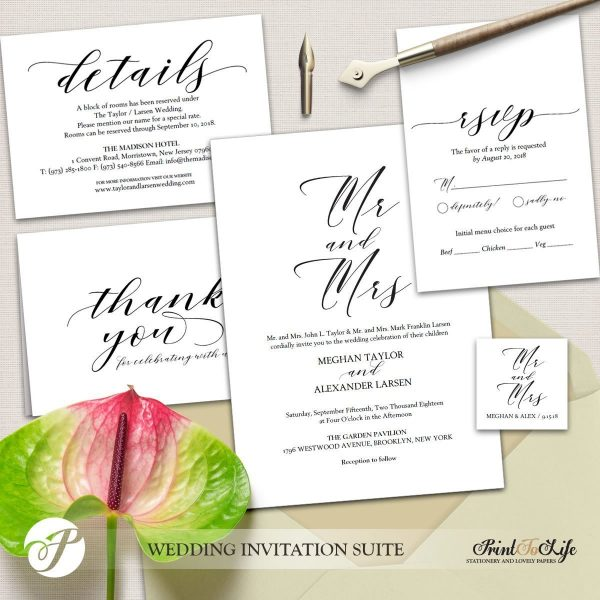 Mr and Mrs wedding invite