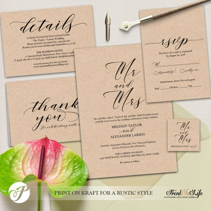 Wedding Invitation Set, Printable Wedding Suite #MrAndMrs Collection 1