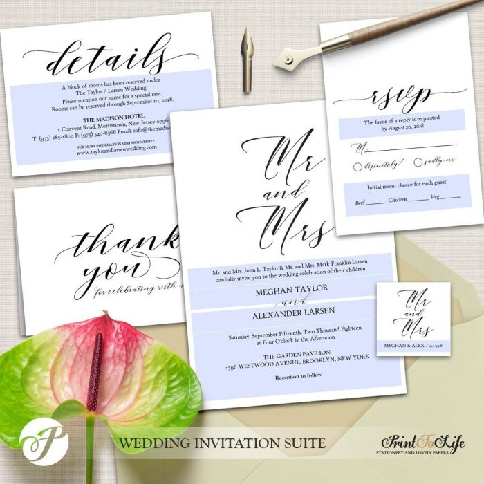 Wedding Invitation Set, Printable Wedding Suite #MrAndMrs Collection 3