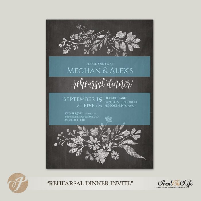 Wedding Rehearsal Invitation, Rehearsal Dinner, Rustic Floral Style, Printable Chalkboard Template. 2