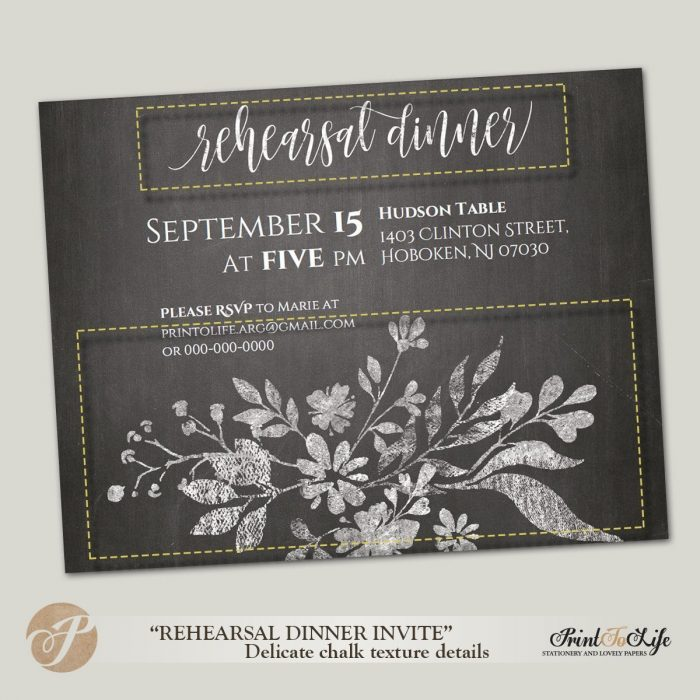 Wedding Rehearsal Invitation, Rehearsal Dinner, Rustic Floral Style, Printable Chalkboard Template. 1