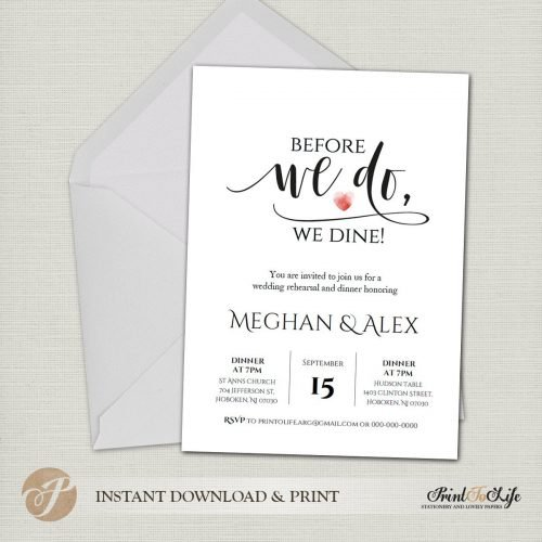 Rehearsal Wedding Invitation by Printolife
