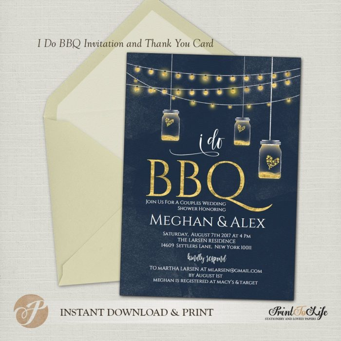 I do BBQ Invitation, Barbecue Wedding Shower Invitation + Thank You Card 1