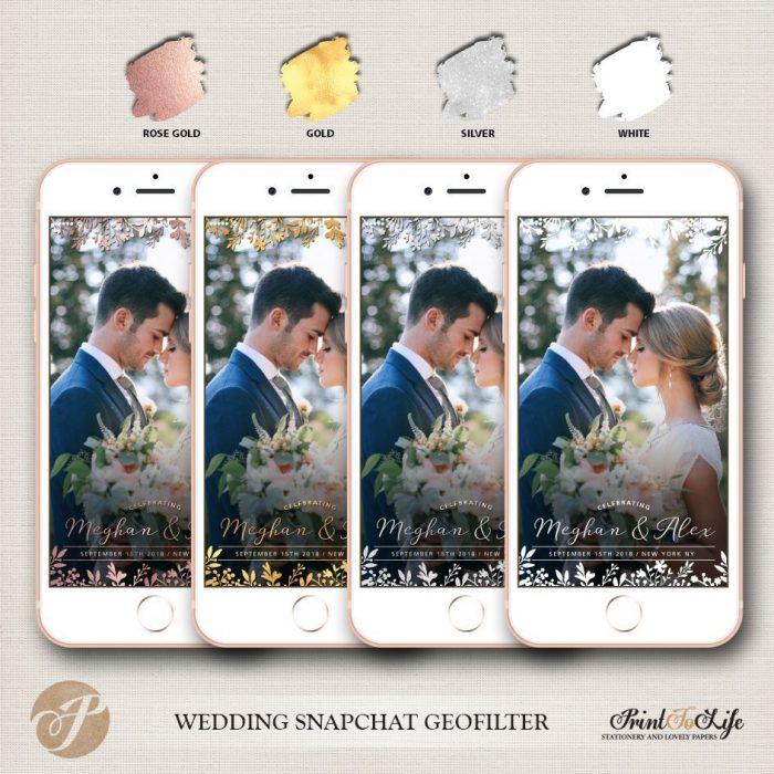 Wedding Filter, Custom Geofilter, Snapchat Geofilter, glitter and rustic floral bouquet. 2