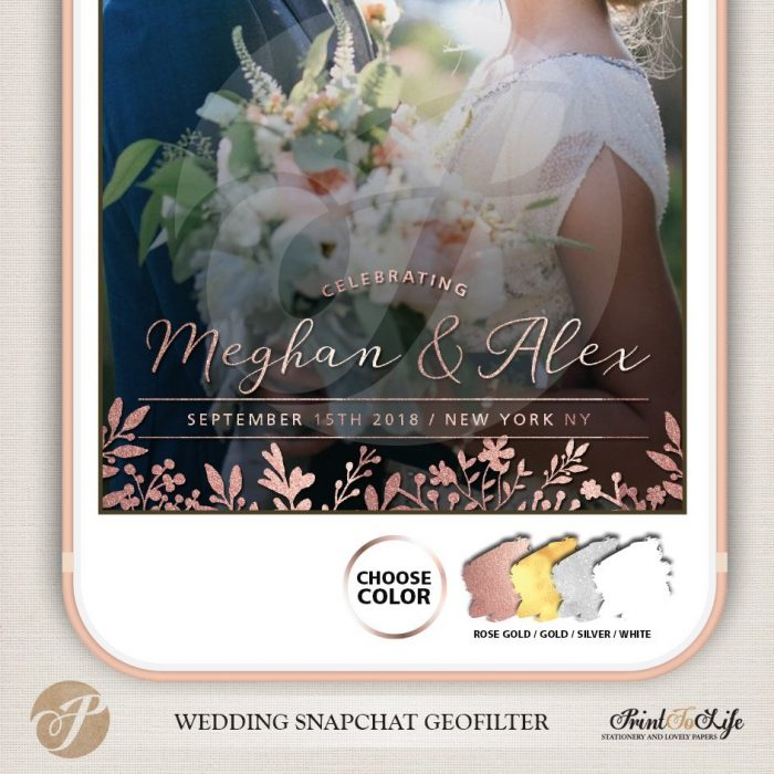 Wedding Filter, Custom Geofilter, Snapchat Geofilter, glitter and rustic floral bouquet. 5