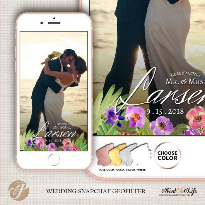 Wedding Geofilter Floral Bouquet, Custom Geofilter, Snapchat Geofilter 1
